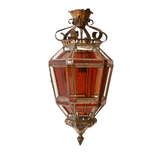 Andalusian Amber Glass Lantern For Sale