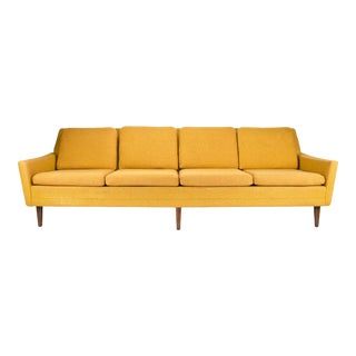 1960s Danish Modern Folke Ohlsson for Dux Yellow Wool Four Seat Sofa