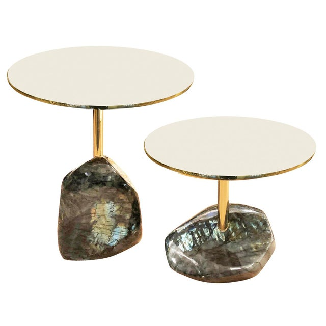 2010s Labradorite Side Tables by Studio Superego - a Pair For Sale - Image 5 of 5