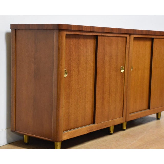 Walnut and Brass Tv Console Credenza - Image 5 of 11
