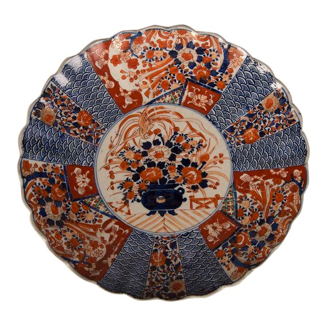 A large Imari platter with a scalloped rim imported from Japan c. 1885 into France For Sale