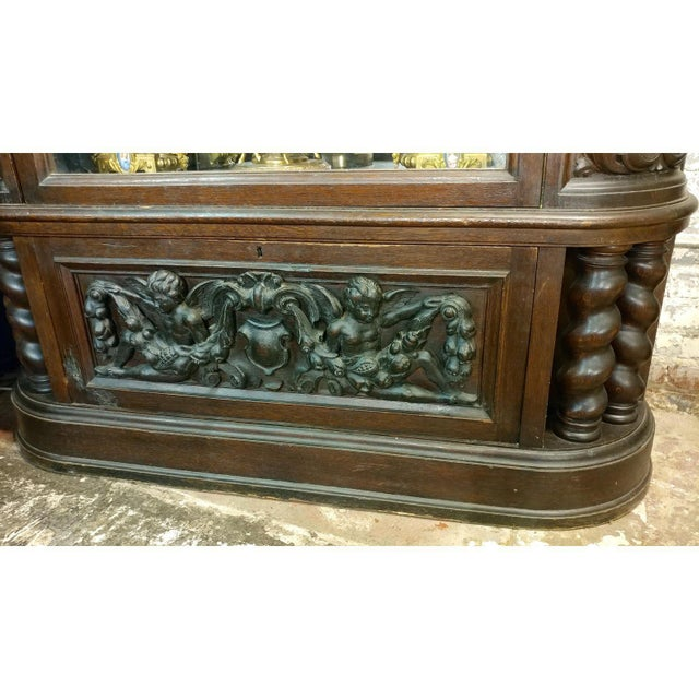 18th Century Carved French Gothic Oak Cabinet with Santos & Angels Figures For Sale In Los Angeles - Image 6 of 9
