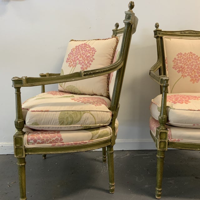 Italian Upholstered Arm Chairs- A Pair For Sale In Washington DC - Image 6 of 10