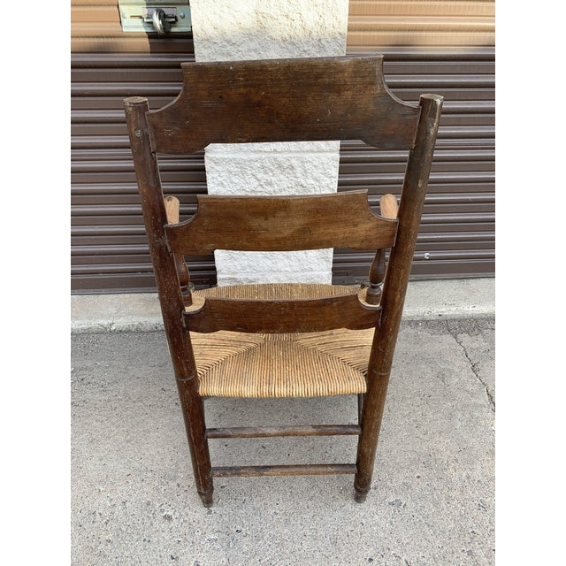 Wood Early 19th Century French Ash Wood Rush Seat Armchair For Sale - Image 7 of 11