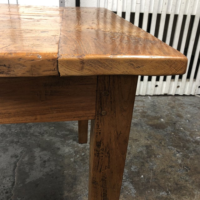 Wood Rustic Reclaimed Two Drawer Farm Table For Sale - Image 7 of 10