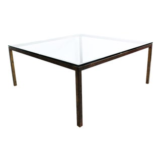 1950s Mid Century Modern Mastercraft Brass and Glass Square Coffee Table For Sale