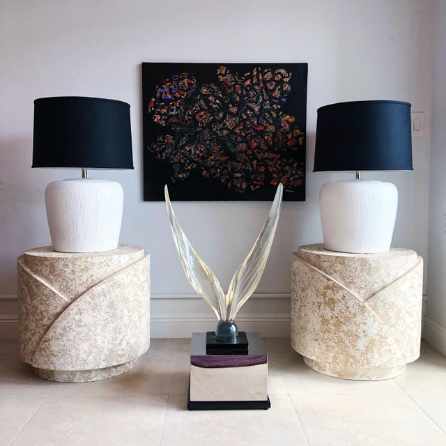 Antique White Vintage Sculptural Textured Plaster Cylindrical Pedestal Tables - a Pair For Sale - Image 8 of 9