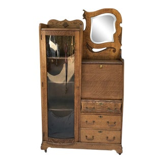 Vintage Wooden Vanity With Storage and Secretary Desk For Sale