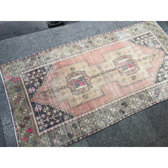 1960s Vintage Faded Turkish Tribal Rug- 4′2″ × 8′3″ For Sale - Image 9 of 11