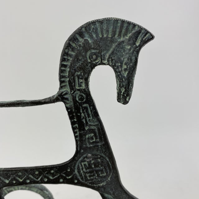 Vintage Brass Etruscan Horse and Chariot Rider Sculpture in the Style of Frederick Weinberg For Sale - Image 10 of 13