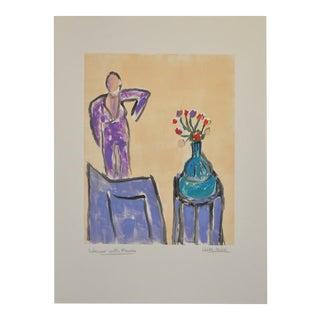 "Arthur Krakower Monotype ""Interior W/ Flowers"" C.2004 For Sale"