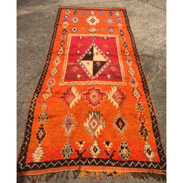 """A Very Old Fine and Rare Vintage Orange Moroccan Azilal Rug - 4'2"""" X 10' - Image 3 of 5"""