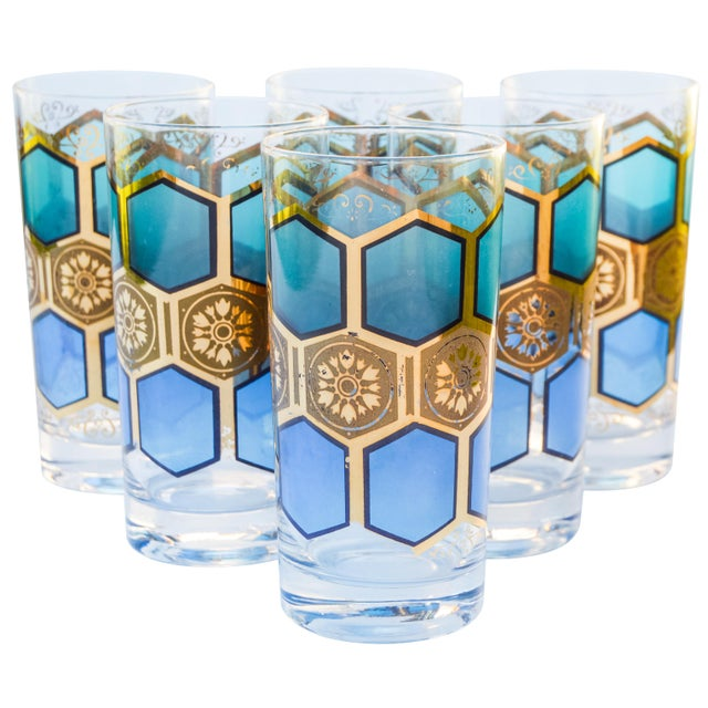 Mid-Century Modern Midcentury Gold-Patterned Highballs, S/6 For Sale - Image 3 of 5