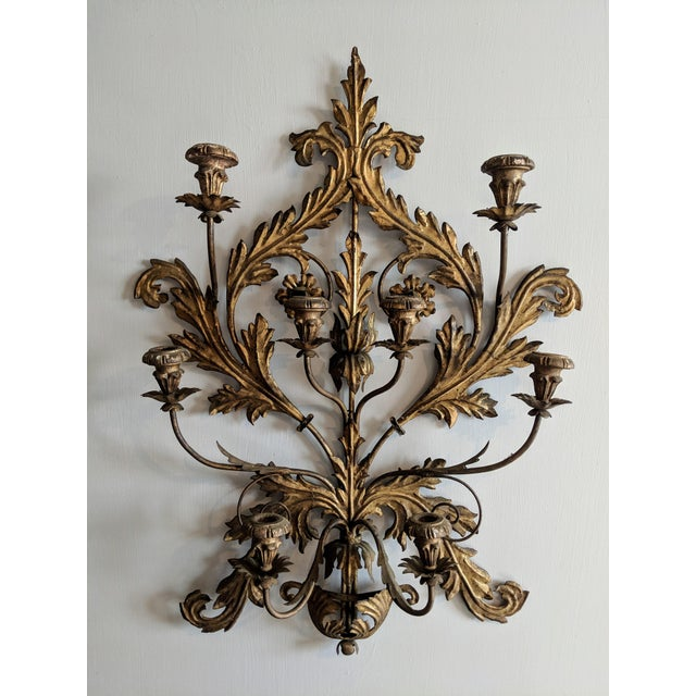 Antique Italian Tole Gilt Wall Candelabra For Sale - Image 13 of 13