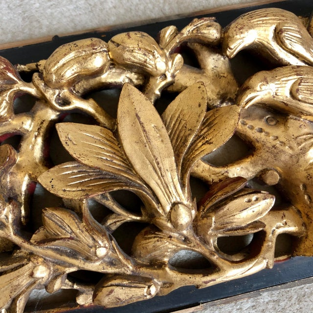 Antique Chinese Carved Giltwood Panels- a Pair For Sale - Image 4 of 9