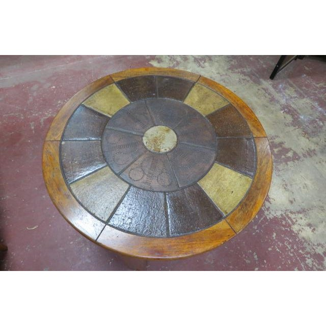 Mid-Century Modern Vintage Danish Modern Solid Teak Round Coffee Table With Tile Top For Sale - Image 3 of 6