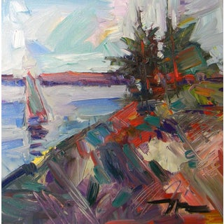 Jose Trujillo Expressionism Harbor Sailboat Sky Oil Painting For Sale