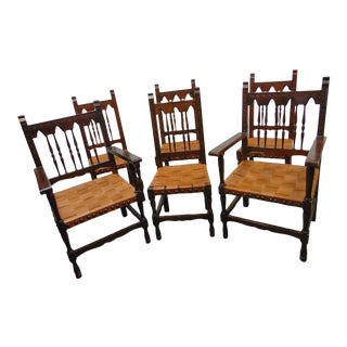 Gothic Jacobean Carved Walnut Dining Chairs - Set of 6 For Sale
