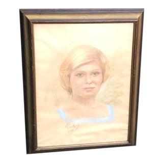 1978 Blonde Woman Pastel Portrait For Sale