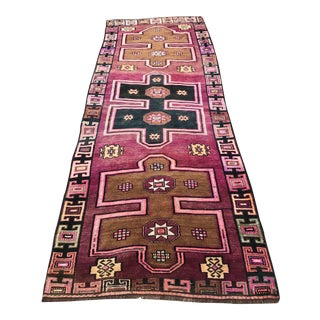 "Turkish Anatolian Pink Rug-3'7'x9'11"" For Sale"