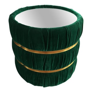 Mid-Century Green Velvet Barrel Mirrored End Table For Sale