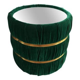 Mid-Century Green Velvet Barrel Mirrored End Table