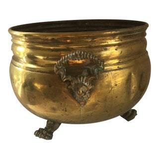 Large-Scale Brass Lion Jardiniere For Sale
