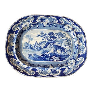 1820s Enoch Wood Sporting Series Staffordshire Dark Blue Transferware Platter For Sale