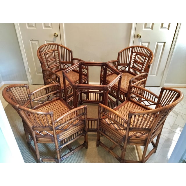 1970s Hollywood Regency Brighton Pavilion Style Bamboo Dining Set - 5 Pieces For Sale - Image 12 of 12