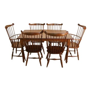 Traditional Solid Cherry Farm Style Dining Set - 7 Pieces For Sale