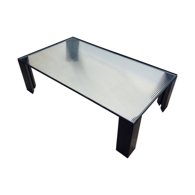 Italian Black Cocktail Table with Rib Glass Top For Sale