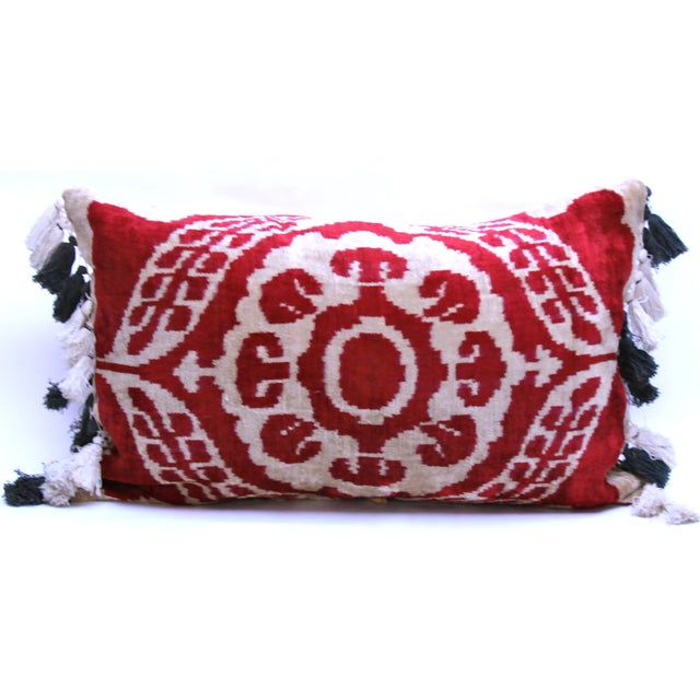 Velvet Ikat Pillow with Uzbek Tassels - Image 2 of 3
