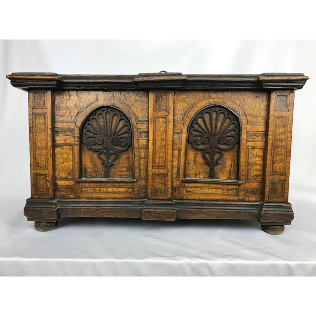 Antique bible storage box with keyed lock. Decorative burl walnut veneer and inlays upon front, oak veneer on tops and...