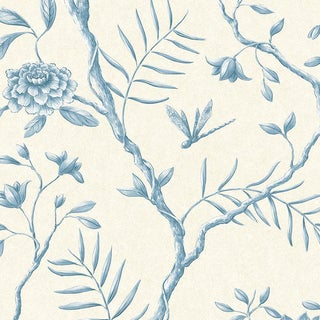 Lewis & Wood Jasper Peony China Blue Botanic Wallpaper Sample For Sale