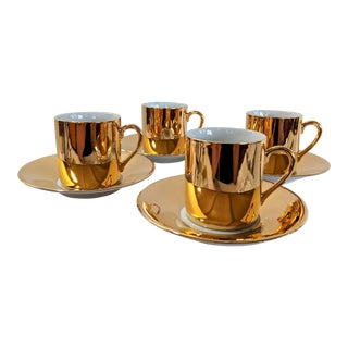 1970s Vintage Neiman Marcus Fitz & Floyd Gold Demi Tasse Tea Set- 8 Pieces For Sale