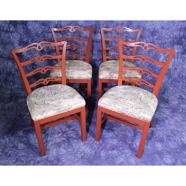 Red Painted Antique Dining Chairs - Set of 4 For Sale - Image 9 of 11
