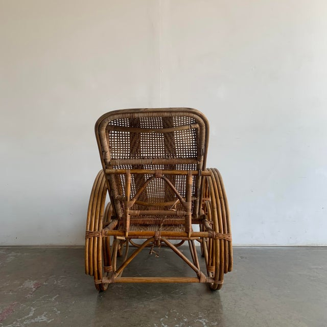 Woven Cane Lounge Chair with Pull Out Foot Rest For Sale - Image 9 of 13