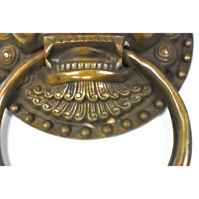 Late 20th Century Late 20th Century Vintage Dragon King Motif Brass Door Knockers- a Pair For Sale - Image 5 of 13