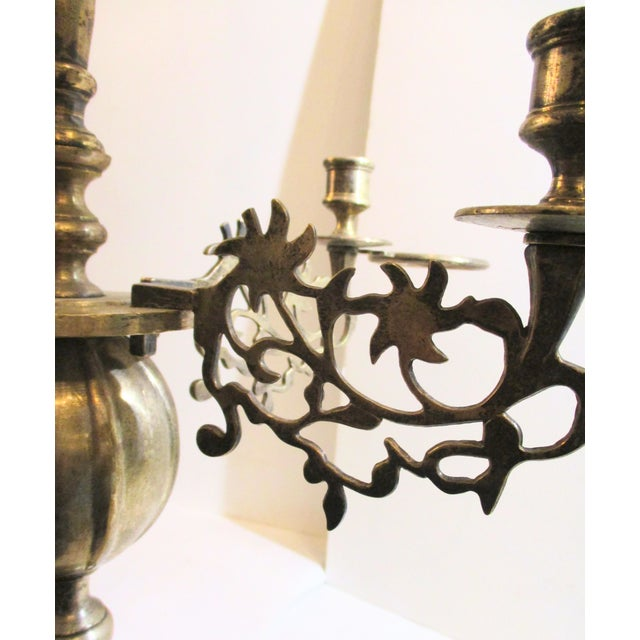 French Silver Plate Bronze Candle and Oil Chandelier For Sale In New York - Image 6 of 11