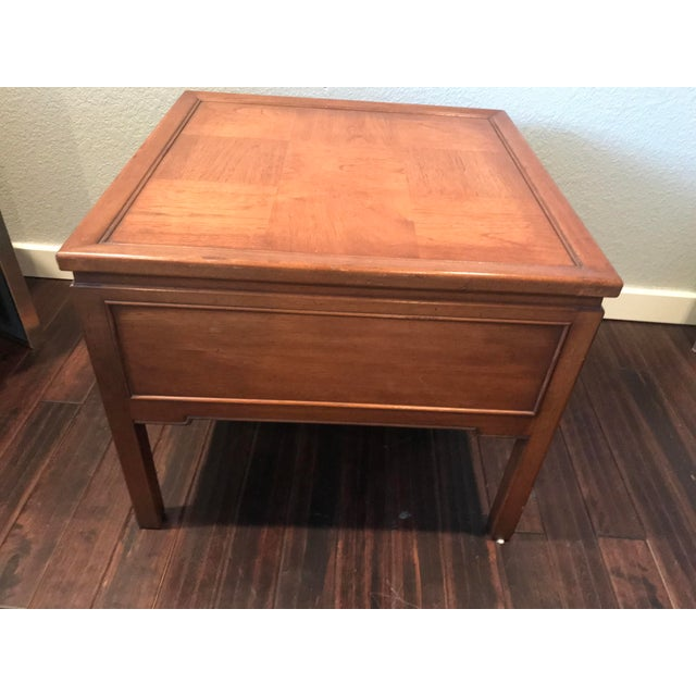 Brown Hekman Walnut Asian Style Mid-Century Accent Table For Sale - Image 8 of 9