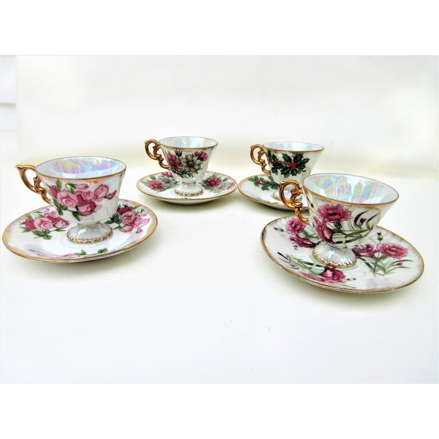1960s 1960s Japanese Lusterware Flower of the Month Demitasse Cups and Saucers - Set of 4 For Sale - Image 5 of 12