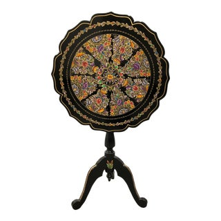 20th Century Folk Art Tole Tilt Top Accent Table For Sale