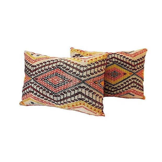 Antique Caucasian Soumak Pillows, Pair - Image 4 of 8