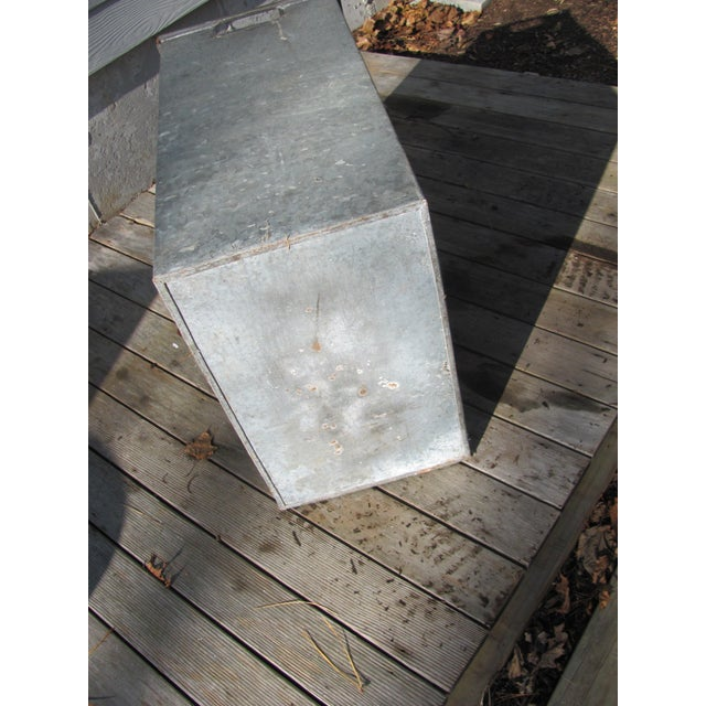 Industrial Style Galvanized Steel Waste Basket For Sale In Providence - Image 6 of 13