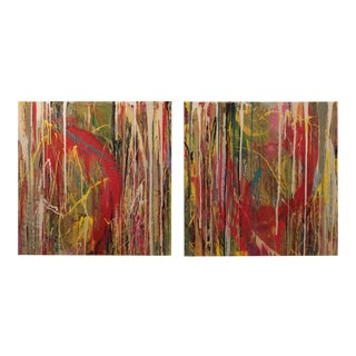 Abstract Dyptich Drip Paintings For Sale