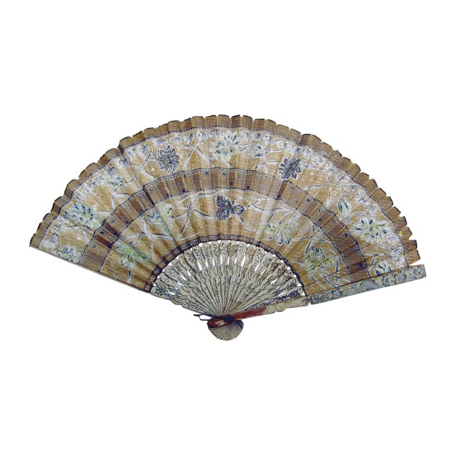 Vintage Hand Painted Paper Fan - Image 1 of 4