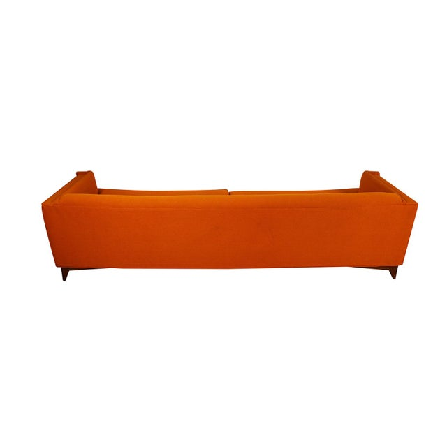 Mid Century Modern Orange Upholstered Curved Sofa For Sale In Baltimore - Image 6 of 12