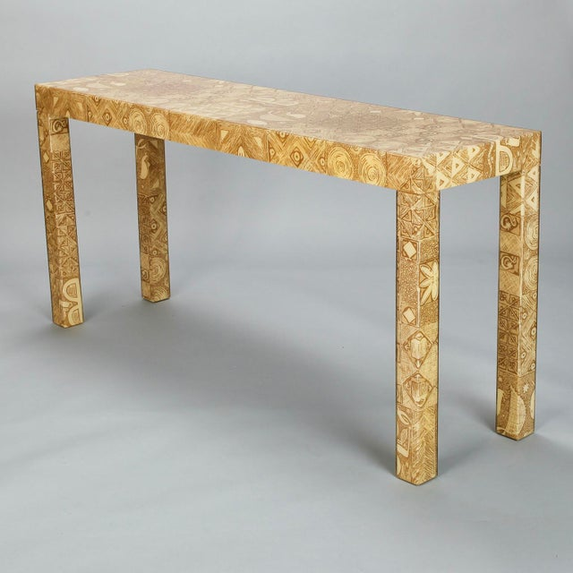 Mid-Century Acrylic Over Fabric Parsons Console Table - Image 6 of 9