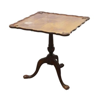 Antique Flip Top Claw Foot Walnut End Table For Sale