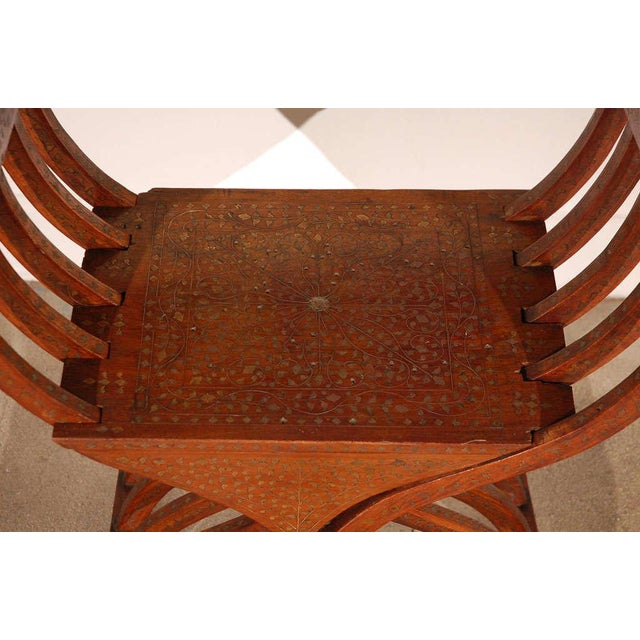 Mid 19th Century 19th C. Anglo-Indian Savonarola Brass Inlaid Armchair For Sale - Image 5 of 9